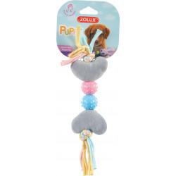 zolux Plush toy PUPPY XS grey heart. 27 cm. for puppies. Peluche pour chien