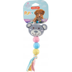 zolux Plush toy PUPPY XS Grey rattle. 22 cm. for puppies. Peluche pour chien