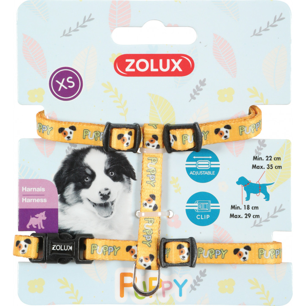 zolux ZO-466737JAU Harness XS PUPPY MASCOTTE. 8 mm. 18 to 29 cm. yellow color. for puppies Puppy