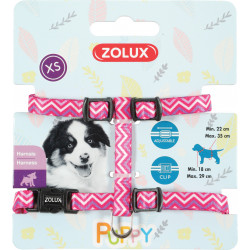 zolux ZO-466743ROS Harness XS PUPPY PIXIE. 8 mm. 18 to 29 cm. pink color. for puppies Puppy