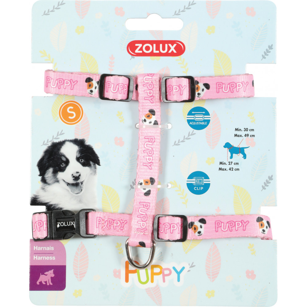 zolux ZO-466740ROS Harness S PUPPY MASCOTTE. 13 mm. 27 to 42 cm. pink color. for puppies Puppy