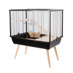zolux ZO-205621NOI Black Neo MUKI cage. 77.5 x 47.5 x height 87.5 cm. for large rodents. Cage