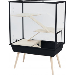 zolux ZO-205450NOI Royal black NEVO cage. for rodents. 78 x 48 x h 108 cm. with its feet. Cage