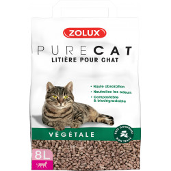 zolux Rein pflanzliche Katzenstreu. kompostierbar und biologisch abbaubar. 8 Liter. für Katzen. ZO-476314 Wurf