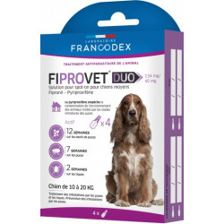 francodex FR-170123 4 anti flea pipettes fiprovet duo for small dogs 10 to 20 kg Pest control pipettes