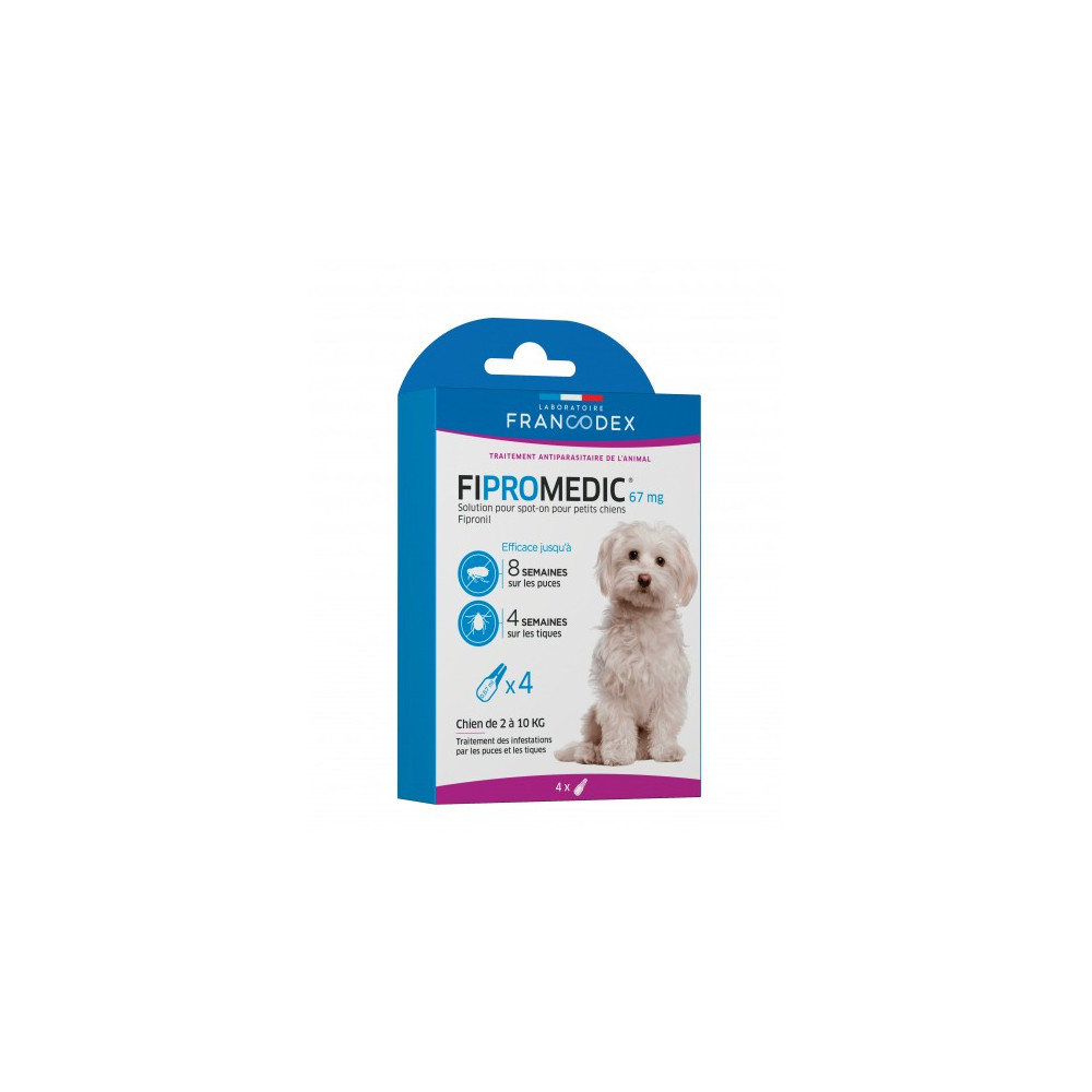 Francodex 4 Fipromedic pipettes 67 mg. For Small Dogs from 2 kg to 10 kg. antiparasitic anti-parasitic