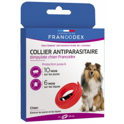 Francodex 1 Dimpylate Pest Control Necklace 50 cm. For Dogs. Red color pest control collar