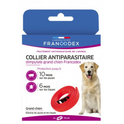 Francodex 1 Dimpylate Pest Control Necklace 70 cm. For Dogs. Red color pest control collar