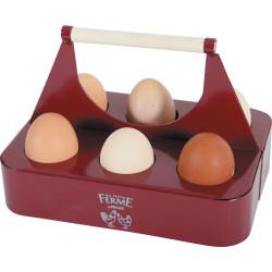 ZO-175649 zolux Porta huevos de metal granate. 21.5 x 15 x 14.5 cm. patio bajo. Patio bajo