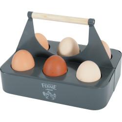 Metalowy łupkowy uchwyt na jajka. 21.5 x 15 x 14,5 cm. niskie podwórko. ZO-175651 zolux