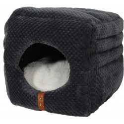 zolux ZO-500122GRI 2 in 1 cube. 2 in 1 PALOMA for cats. grey colour. 35 x 35 x 35 cm . Sleeping