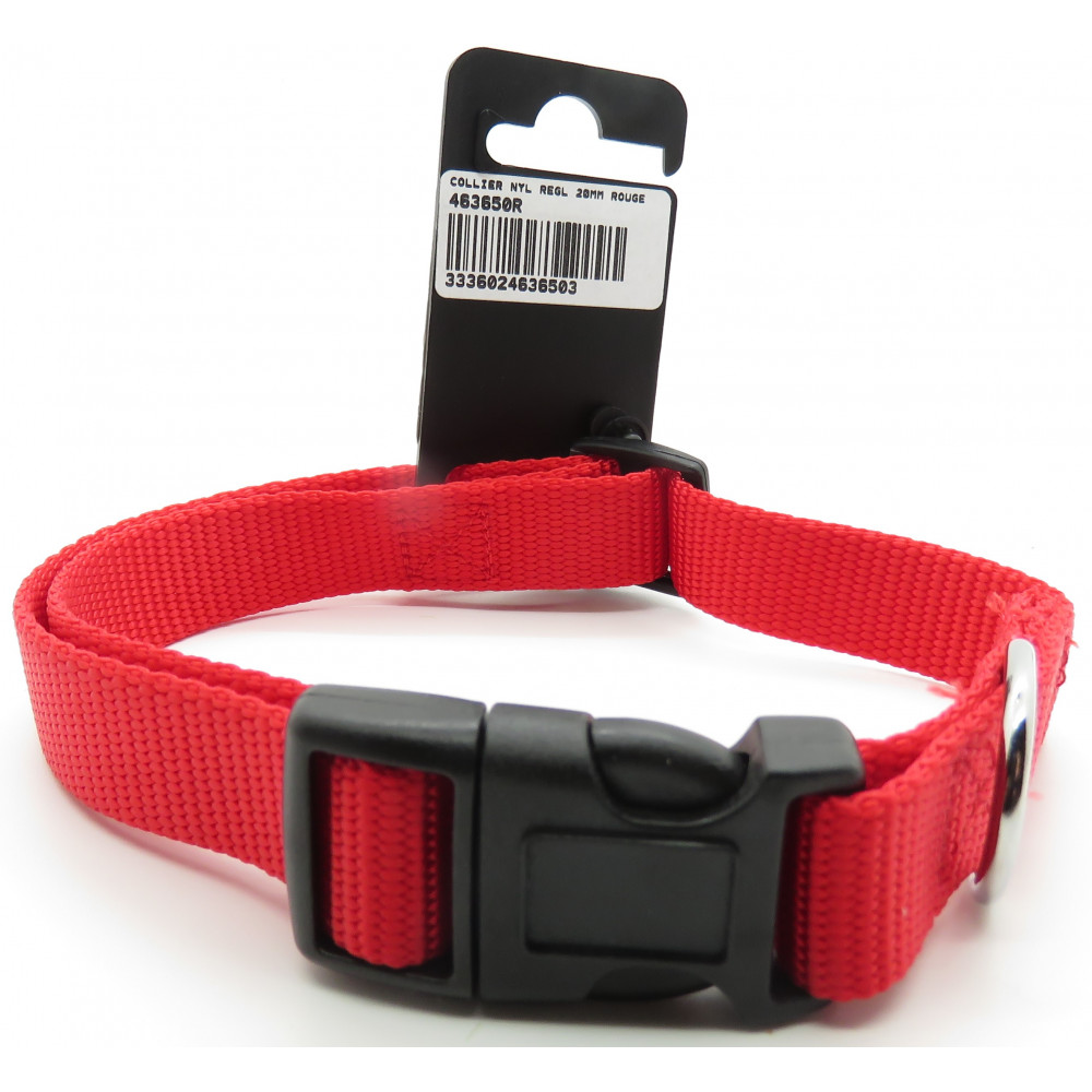 zolux ZO-463650R nylon collar . size 40 - 50 cm . 20 mm . red color. for dog. Necklace