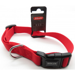 zolux ZO-463660R nylon collar . size 50 - 60 cm . 25 mm . red color . for dog. Collier nylon