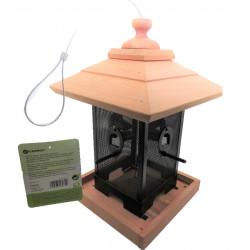 Flamingo Pet Products Silo feeder, wood metal grid. 22 x 22 x 32 cm. for birds. Outdoor feeders