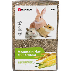 Flamingo Pet Products mountain hay with corn and blue weight 500 G. for rodents. Hay, litter, shavings