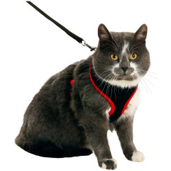 Flamingo Pet Products Cat harness, colour black and red, size M, adjustable. collier laisse cage