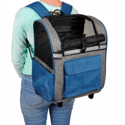 Flamingo Pet Products blue Kiara trolley backpack. 32 x 29 x h 89 cm. for dog. Stroller and trolley
