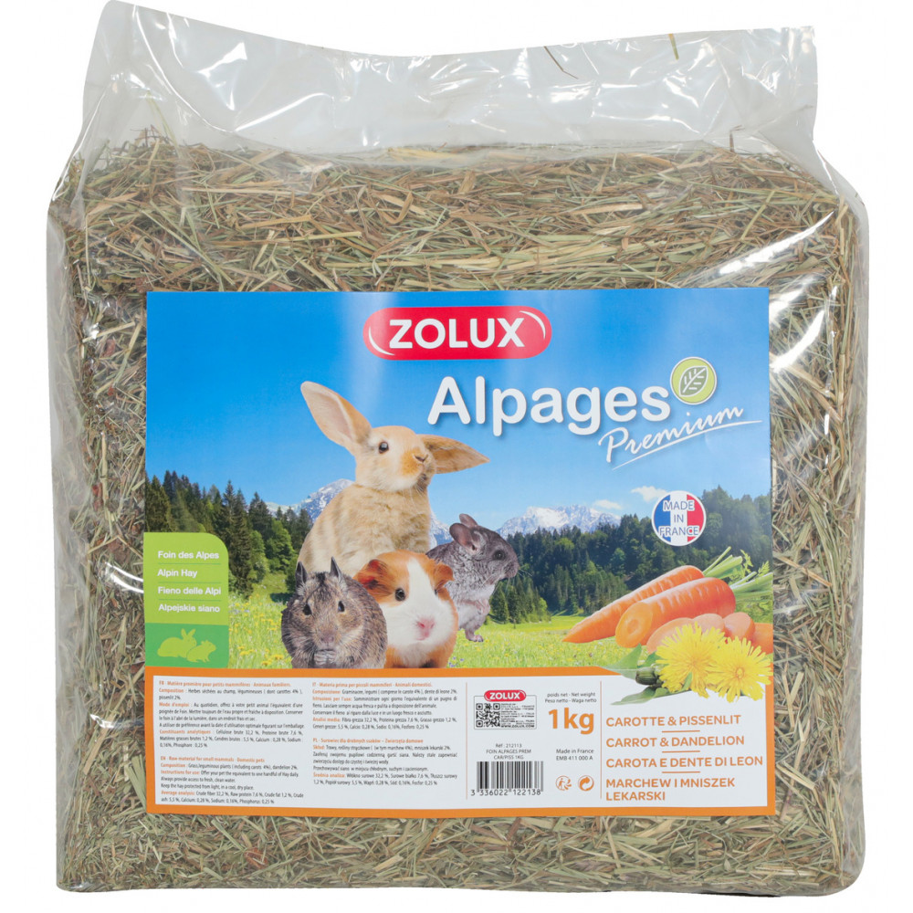zolux ZO-212113 Premium alpine hay. Carrot and dandelion. 1 kg. for rodents. Hay, litter, shavings