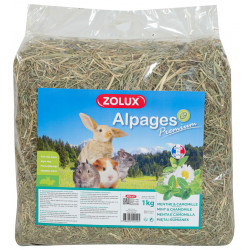 zolux Premium alpine hay. Mint and chamomile. 1 kg. for rodents. Hay, litter, shavings