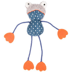 Flamingo katzenspielzeug. blauer Frosch Floera. 20 cm. mit Katzenminze. FL-561120 Spiele