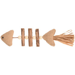 Flamingo FL-561126 toy Topsy Fish Wooden Fish Matatabi Nature 21 cm. Cat toy. Games