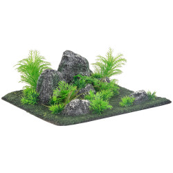 Flamingo Pet Products Decoration condroz quadrilateral rock + plant. 29 x 29 x 10 cm. aquarium. Decoration and other