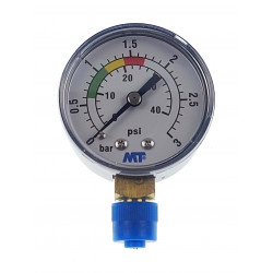 "Jardiboutique MT pressure gauge with red and green markings - ABS pool sand filter pressure gauge 3 bars - 1/4"" thread Pressu..."