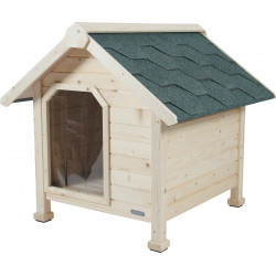 zolux Wooden kennel chalet, size Small. ext. dimension 73 x 77 x 72 cm high. dog house. Niche