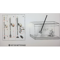 zolux Aquarium cleaning kit. vacuum cleaner + scraper + net. Maintenance, aquarium cleaning