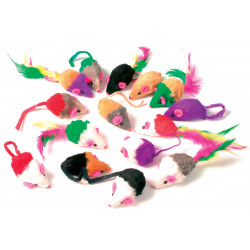 zolux 24 furry mice. cat toy. multi color . Games