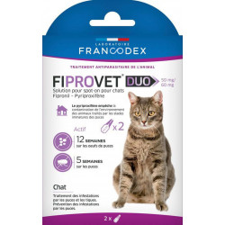 Francodex 2 anti flea pipettes for cats - fiprovet duo 50 mg ANTIPARASITAIRE