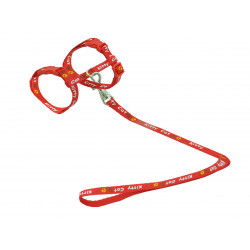 Vadigran Harness with leash 1.20m. KITTY CAT red. for kitten. collier laisse cage