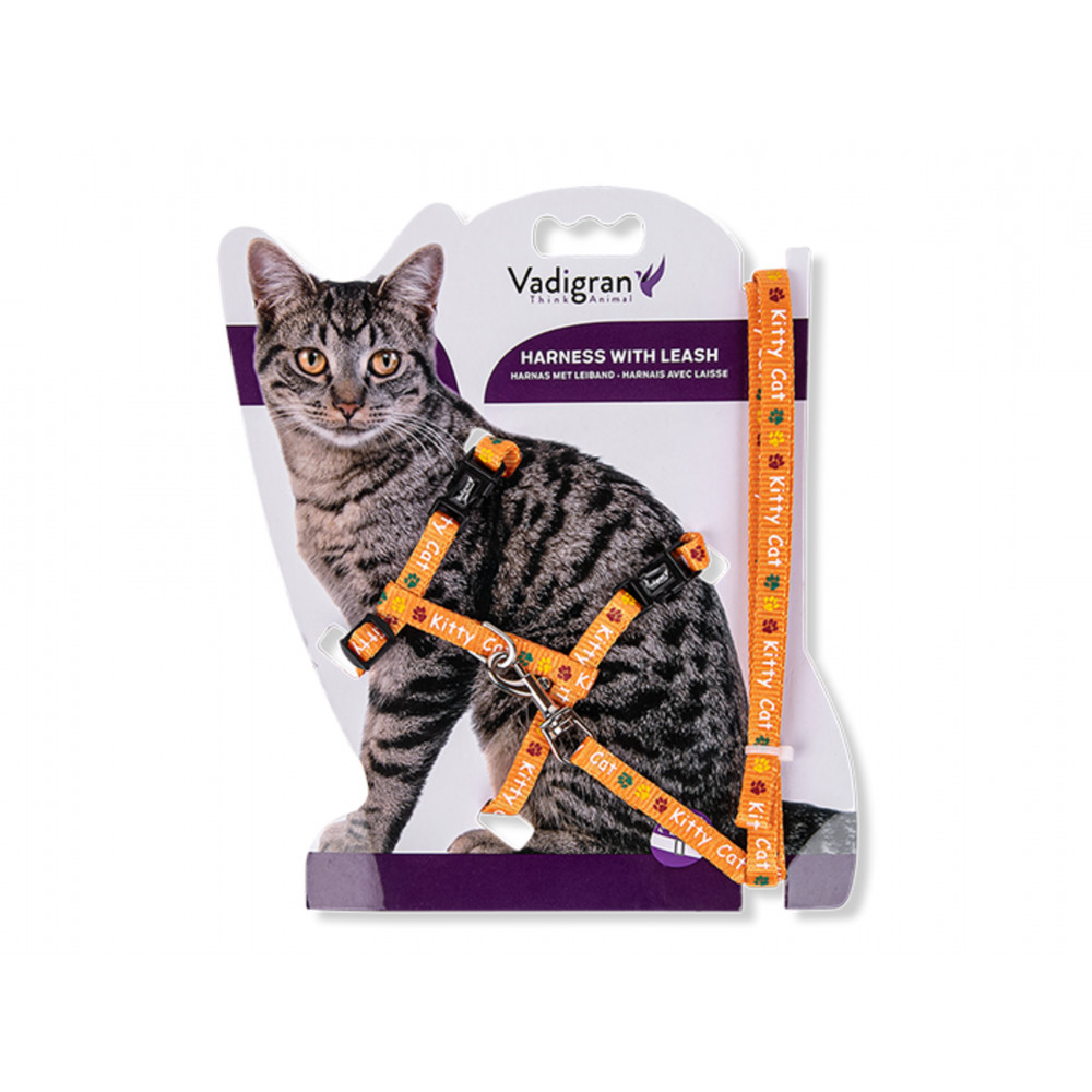 Vadigran Harness with leash 1.20m. KITTY CAT orange. for kitten. collier laisse cage