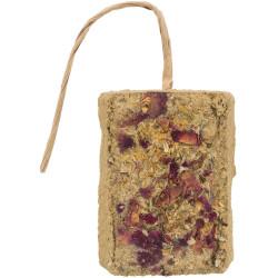 Pedra de barro com flores. Peça de 100g. para roedores. TR-60145 Petiscos e complemento