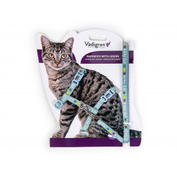 Vadigran Harness with leash 1.20m. KITTY CAT blue. for kitten. collier laisse cage