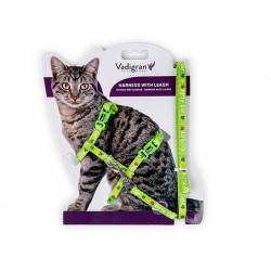 Vadigran Harness with leash 1.20m. KITTY CAT. green. for kittens. collier laisse cage