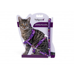 Vadigran Harness with leash 1.20m. KITTY. purple. for kitten. collier laisse cage