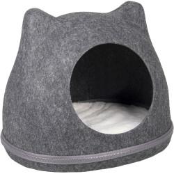 Flamingo Pet Products Tiga basket in grey felt. 43 x 36x 35 cm . for cat. Sleeping