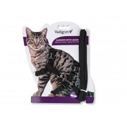 Vadigran Harness with leash 1.20m .CLASSIC. black. for cat. collier laisse cage