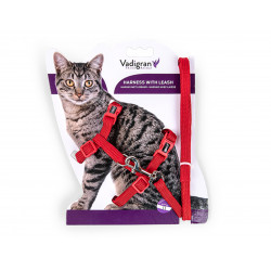Vadigran Harness with leash 1.20m. CLASSIC. red. for cat. collier laisse cage