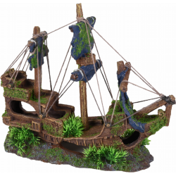 Flamingo FL-410151 Decoration aquarium Moza wreck boat 3 masts 31 x 11 x 27 cm Decoration and other