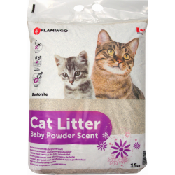 Flamingo Pet Products Litter for cat powder scent of Bébé therefore with talc. :) weight 15 kg. Litter