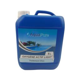 Générique Oxygène actif light liquide 5 Litres, AQUAPURE pour votre piscine. moins de 12 pourcent Produit de traitement