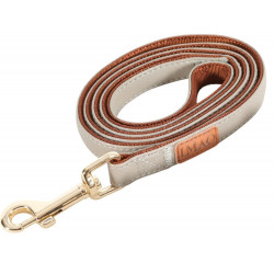 zolux IMAO MAYFAIR lead. 15 mm. x 1.2 meter. taupe color. for dog. dog leash