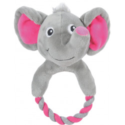 zolux THEO TOUDOUX plush toy. Grey elephant. 16 x 21 x 9 cm. for dog. Peluche pour chien