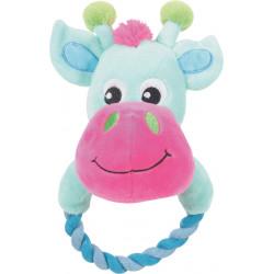 zolux THEO TOUDOUX plush toy. turquoise cow. 16 x 21 x 9 cm. for dog. Peluche pour chien