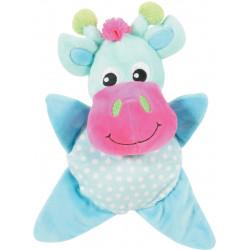 zolux INES TOUDOUX plush toy. Turquoise cow. 18 x 22 x 9 cm. for dog. Peluche pour chien