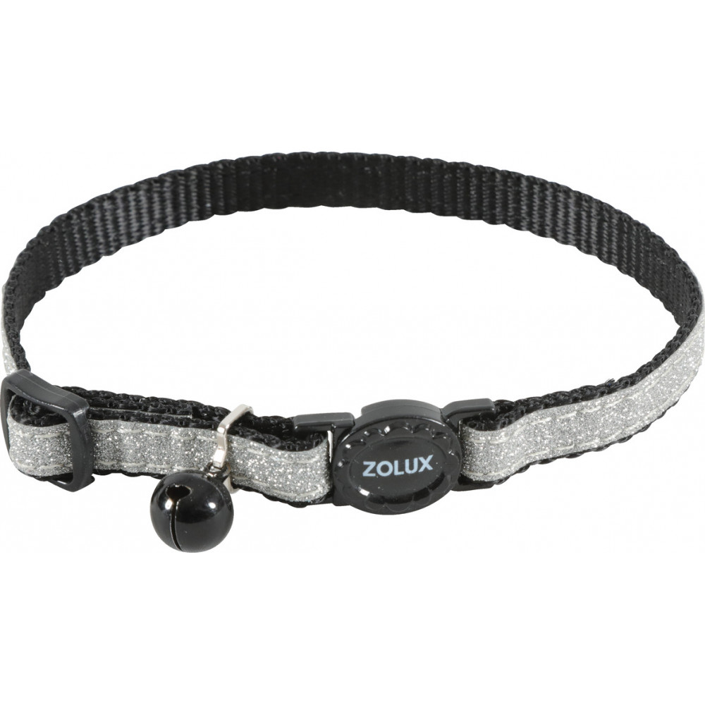 zolux SHINY nylon collar adjustable from 17 to 30 cm. black . for cat. collier laisse cage