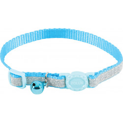 zolux SHINY nylon collar adjustable from 17 to 30 cm. blue . for cat. collier laisse cage