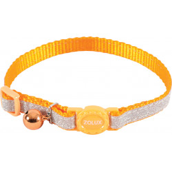 zolux SHINY nylon collar adjustable from 17 to 30 cm. orange . for cat. collier laisse cage